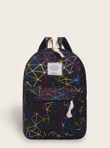 Pocket Front Geometric Print Backpack