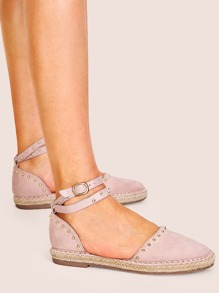 Studded Decor Ankle Strap Espadrille Flats