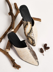 Point Toe Snakeskin Flat Mules