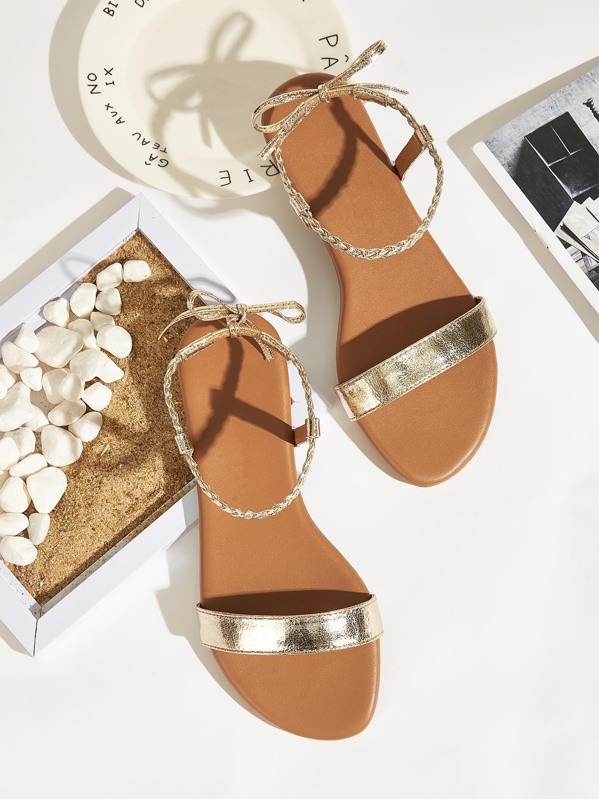 Open Braided Tie Detail Toe Bow Sandals R35AjL4