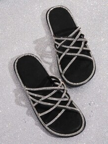 Rhinestone Decor Cross Strap Sliders