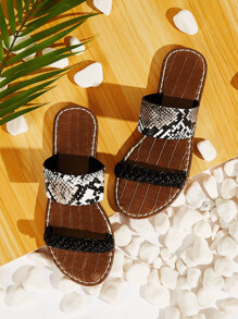 Braided Detail Snakeskin Print Flat Sliders