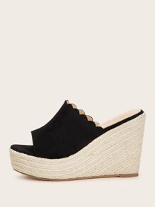 Open Toe Scalloped Espadrille Wedges