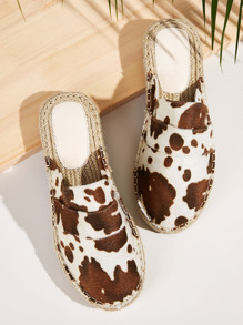 Cow Print Espadrille Flat Mules