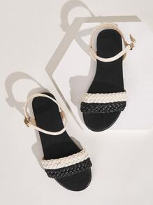 Two Tone Plaited Detail Flat Sandals