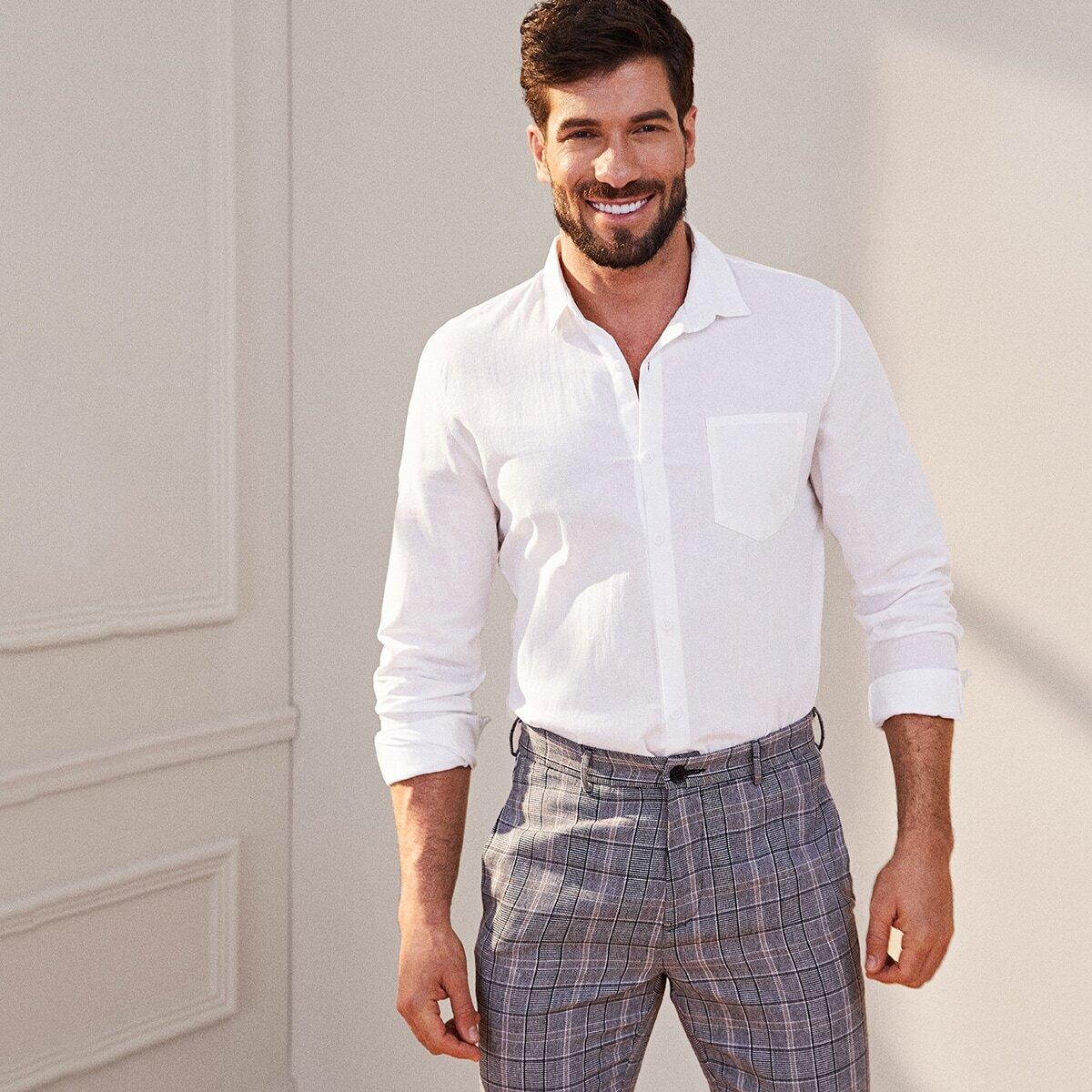 Camicia con monopetto e tasca da uomo