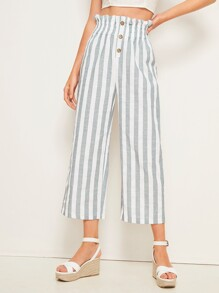 Button Front Striped Paperbag Waist Pants