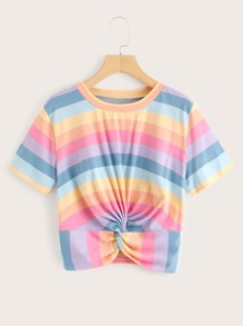 Twist Hem Rainbow Stripe Tee