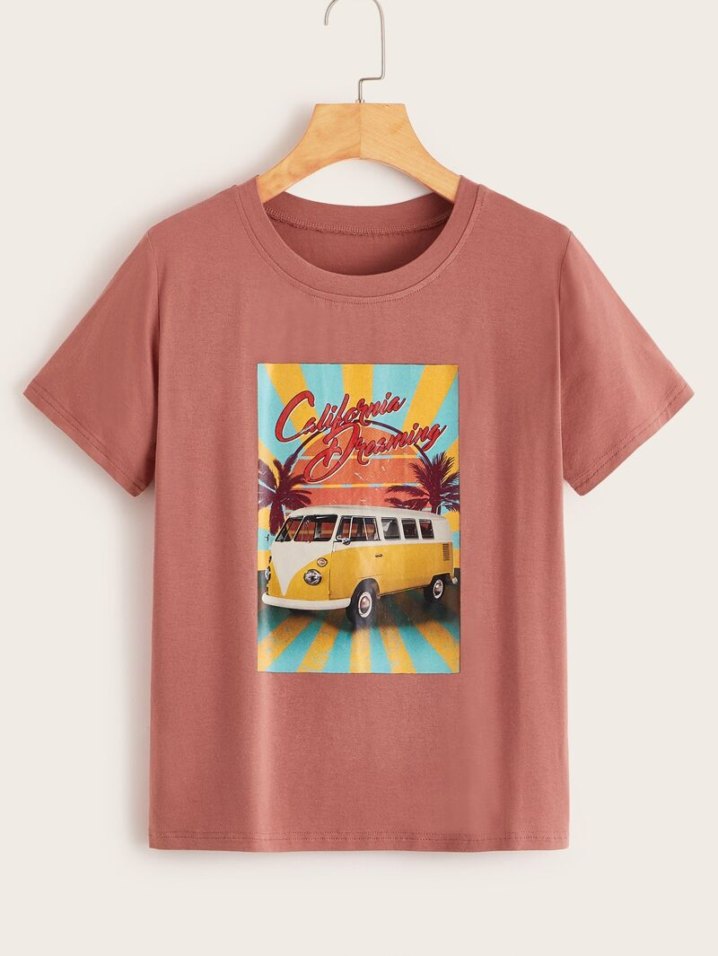 7a02801de3bd Car & Letter Print Tee   ROMWE