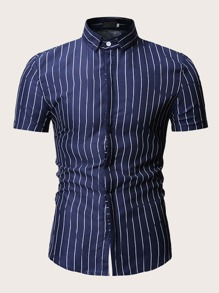 Men Striped Curved Hem Shirt
