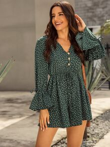 V-neck Polka Dot Button Front Playsuit