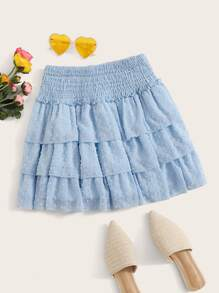 Chiffon Shirred Swiss Dot Layer Ruffle Skirt