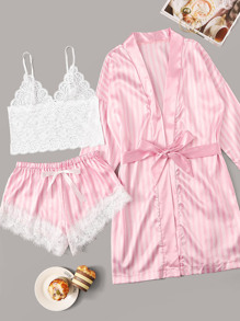 Floral Lace Striped Lingerie Set With Robe