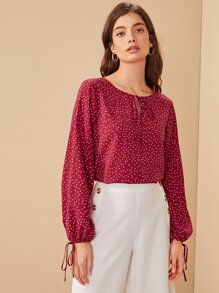 Polka Dot Tie Neck Knot Cuff Blouse