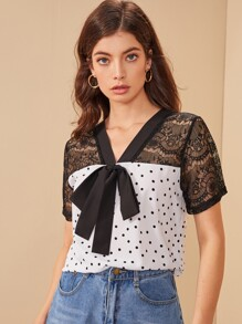 Contrast Lace Polka Dot Tie Front Blouse