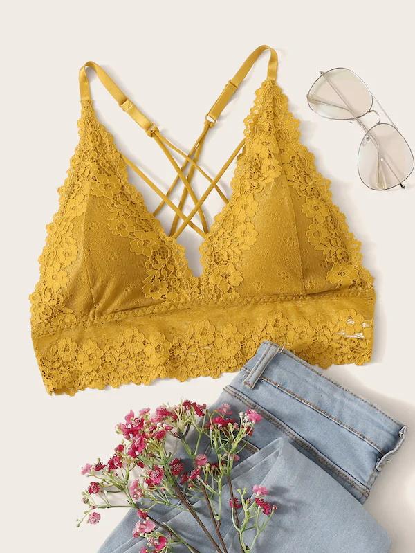 Plus Floral Lace Lattice Bralette