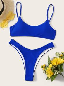 Neon Blue Top With High Cut Bikini Set
