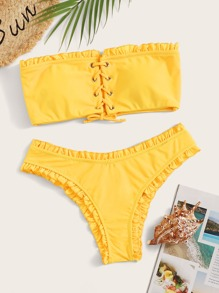 Frill Trim Lace Up Bandeau Bikini Set