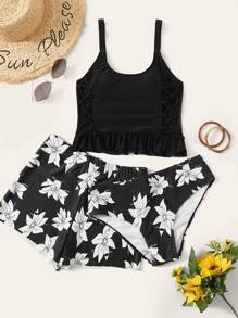 Lace Up Top With Floral 3piece Swimwear