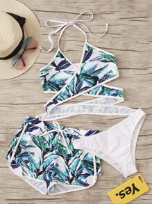 Tropical Wrap Halter 3 Piece Co-ord Bikini