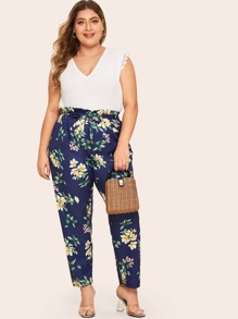 Plus Floral Print Belted Paperbag Pants