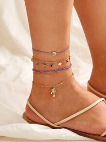 Coconut Tree & Star Chain Anklet 4pcs