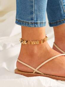 Tassel Metallic Strip Decor Anklet 1pc