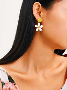 Color-block Flower Drop Earrings 1pair