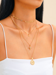 Star & Coin Charm Layered Chain Necklace 2pcs