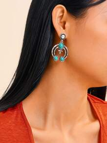 Turquoise Decor Circle Drop Earrings 1pair