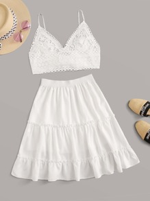 Tie Back Contrast Lace Cami Top With Ruffle Hem Skirt