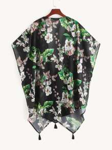 Tropical and Floral Print Cape Kimono