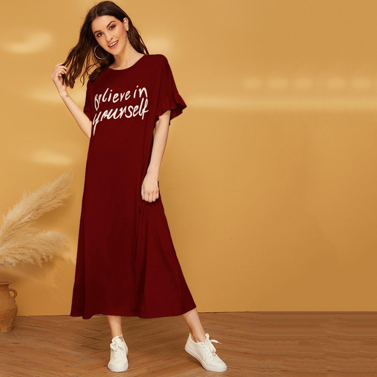 Ночная рубашка с текстовым принтом