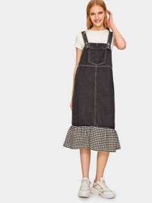 Contrast Gingham Mermaid Hem Denim Strap Dress