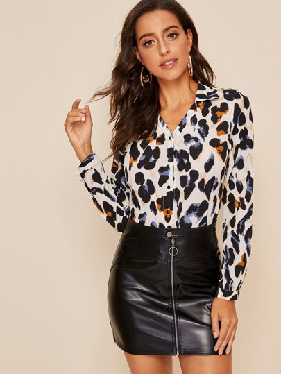 Button Front Leopard Print Blouse