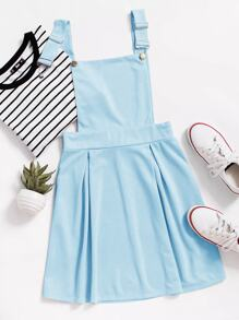 Zip Back Solid Pinafore Dress