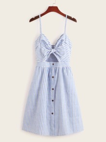 Tie Front Button Through Stripe Cami Dress
