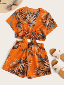 Tie Front Tropical Print Top & Shorts