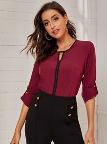Keyhole Neckline Roll Up Sleeve Blouse