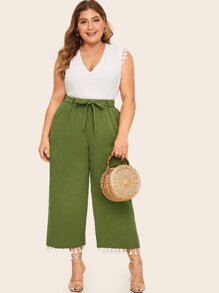 Plus Tassel Hem Wide Leg Belted Pants