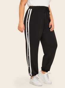 Plus Drawstring Waist Tape Side Sweatpants