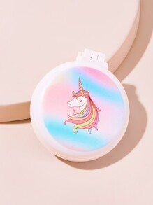 Portable Unicorn Pattern Comb With Mirror