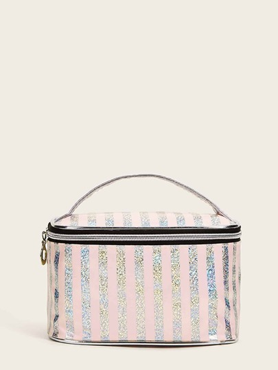Striped Pattern Makeup Bag