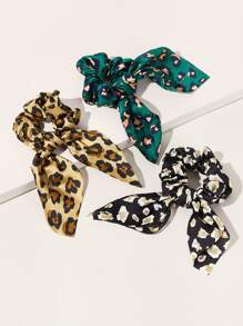 Leopard Pattern Bow Knot Satin Scrunchie 3pcs