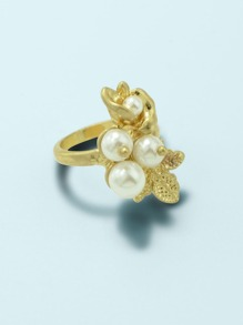 Leaf & Faux Pearl Decor Ring 1pc