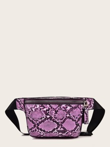 Snakeskin Print Zip Front Fanny Pack