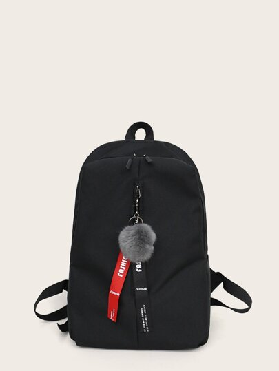 Pom Pom Decor Zip Front Backpack