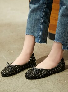 Bow Decor Tweed Flats