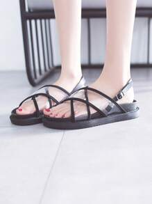Clear Cross Strap Slingback Sandals
