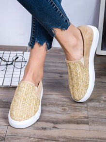 Woven Detail Slip On Sneakers